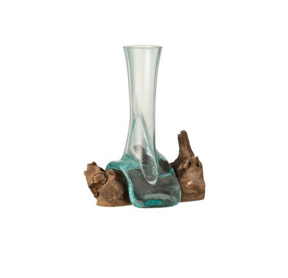 Vaso in vetro riciclato su legno naturale H30