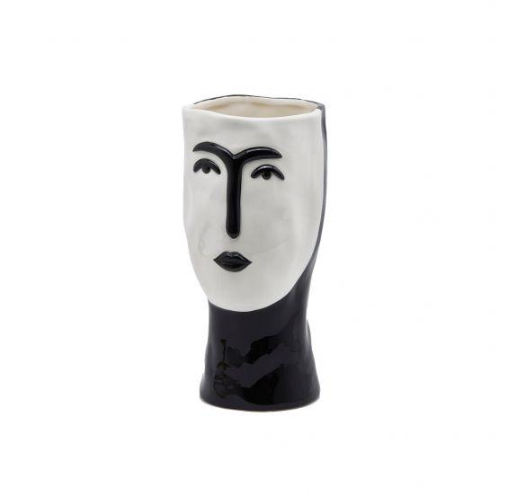 Vaso Volto bianco e nero H29