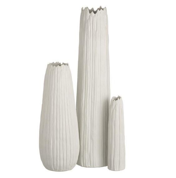 Vaso Righe Ceramica Bianca