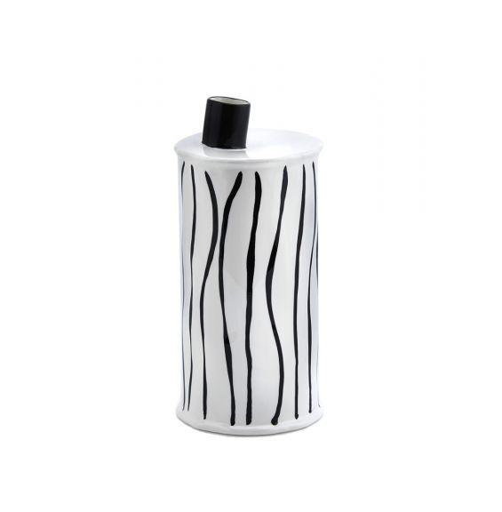 Vaso moderno bottiglia righe bianco e nero