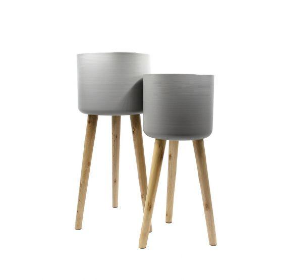 Vaso Metal Grey : Portavaso in metallo su piedi di legno