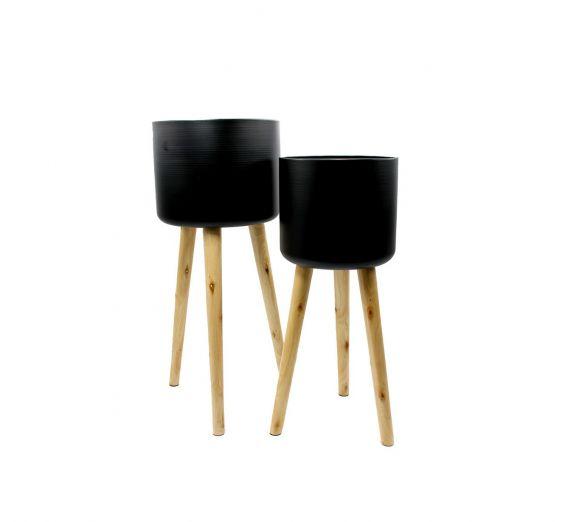 Vaso Metal Black : Portavaso in metallo su piedi di legno