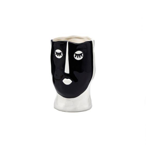 Vaso Volto bianco e nero in ceramica H19