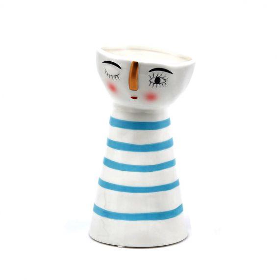 Vaso Doll righe orizzontali azzurre