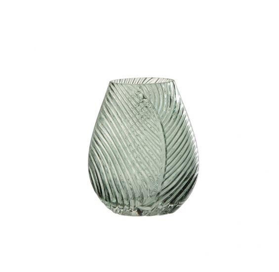 Vaso a forma di foglia in vetro verde H23