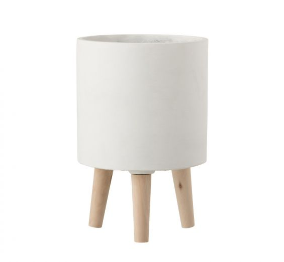 Bloempot Vaso in Cemento Bianco su piedini in legno H30