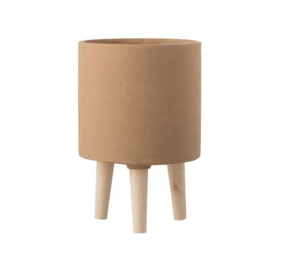 Bloempot Vaso in Cemento Marrone su piedini in legno H30
