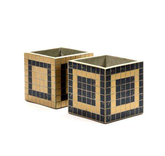 Vaso Marie Mosaico Blue & Gold : Vasi di design in cemento