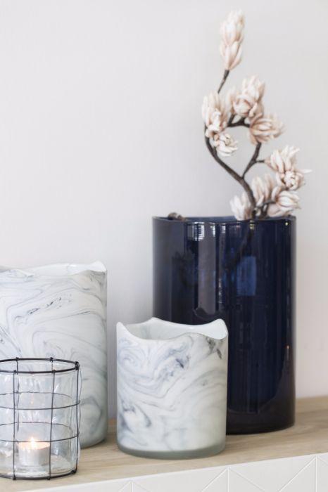 Vaso blu Dark Blue H32: vasi in vetro trasparenti design Pomax