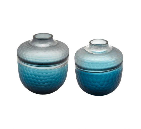 Vaso Orcio in vetro molato blue