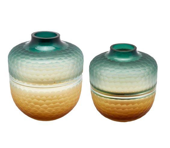 Vaso Orcio in vetro molato green gold