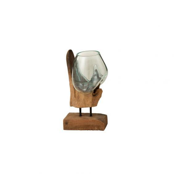 Vaso in vetro fuso su tronco naturale con piedistallo in ferro H35