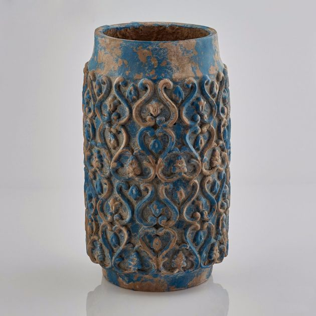 Vaso blu di terracotta Decor H40: vasi design EDG