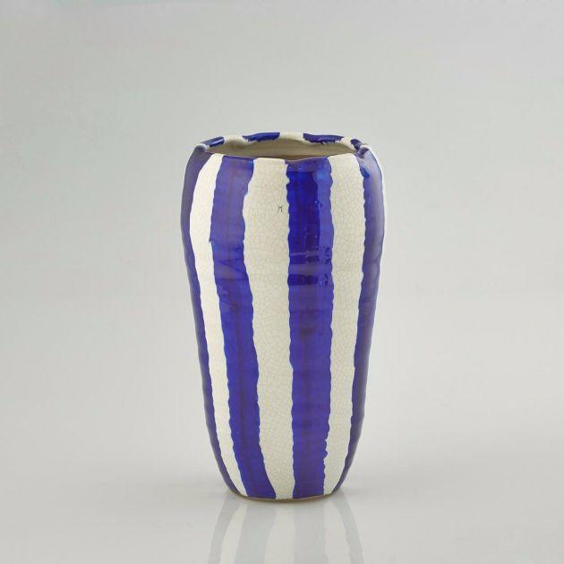 Vaso di terracotta Fenice righe blu: vasi design EDG