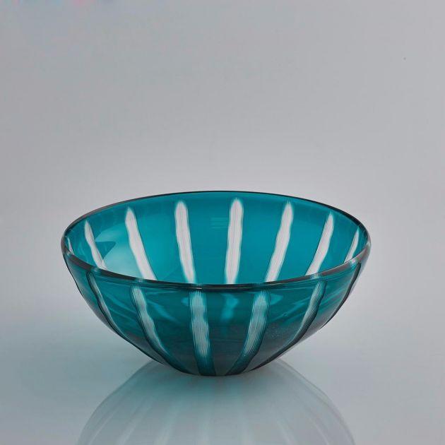 Ciotola vetro blu a righe: centrotavola, portafrutta o svuotatasche EDG