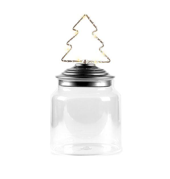 Barattolo di vetro con tappo in alluminio decoro Albero di Natale Led : Barattoli natalizi