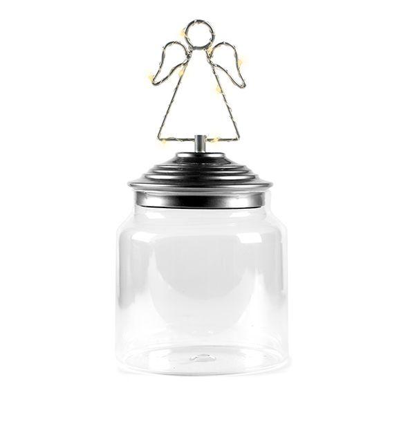 Barattolo di vetro con tappo in allumino decoro Angelo Led : Barattoli natalizi