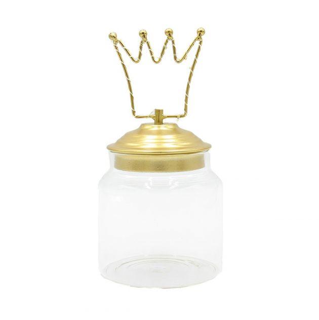 Barattolo di vetro con tappo in alluminio oro decoro Corona Led : Barattoli natalizi