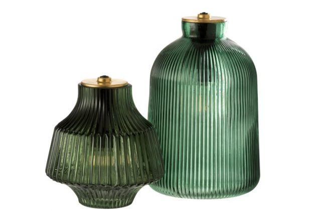 Lampada in vetro verde con luce a LED alimentazione a batteria