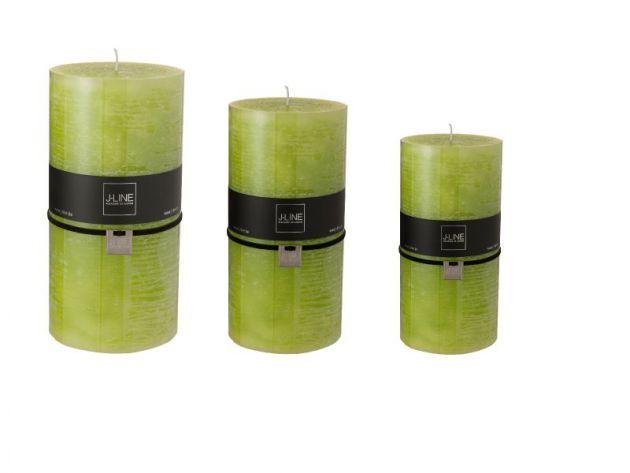 Candele verdi (verde mela) cilindriche: candele di cera colorate J Line
