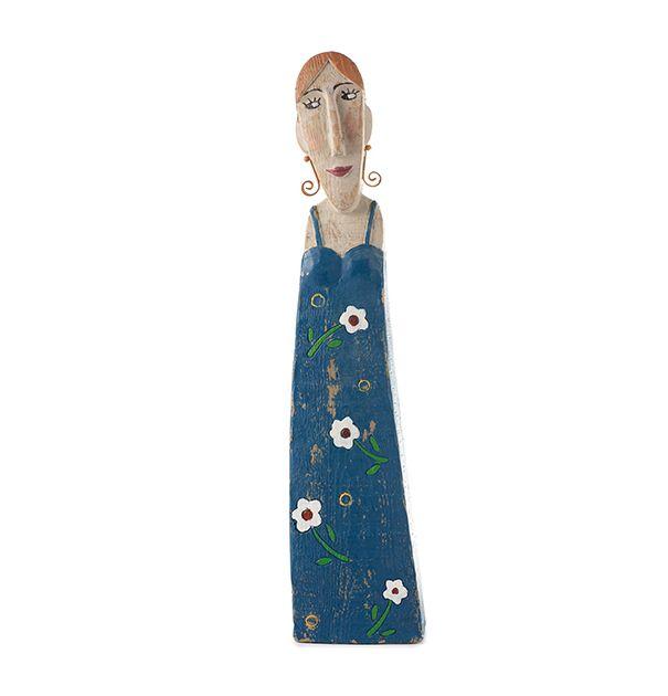 Statuetta donna in poliresina con abito blu : Statuette divertenti raffiguranti persone