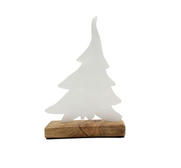 Albero di Natale da tavolo in metallo bianco su base in legno