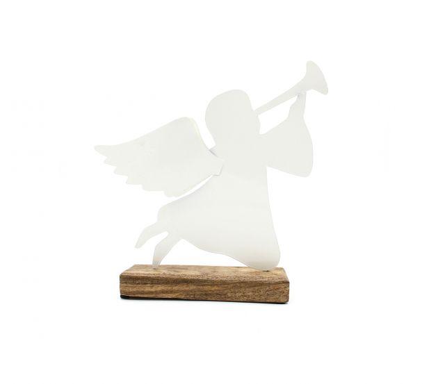 Angelo in metallo bianco su base in legno