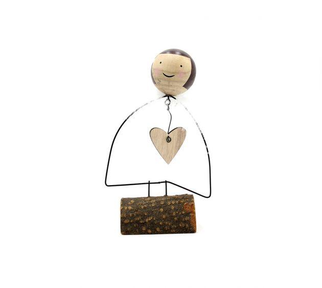 Angelo stilizzato in ferro con cuore H17cm