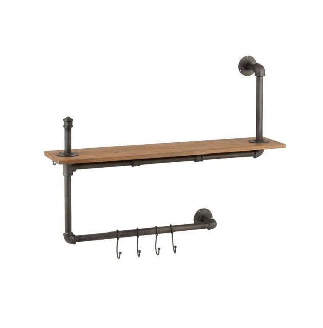 Appendiabiti Tubo : Attaccapanni a muro in stile industriale con tubi idraulici e legno