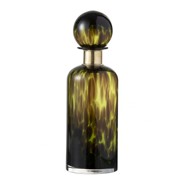 Bottiglia Macchia in vetro con tappo decoro verde nero : Bottiglie in vetro design vintage