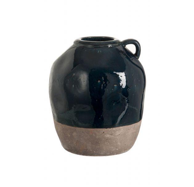 Vaso brocca con manico in ceramica blu-grigio
