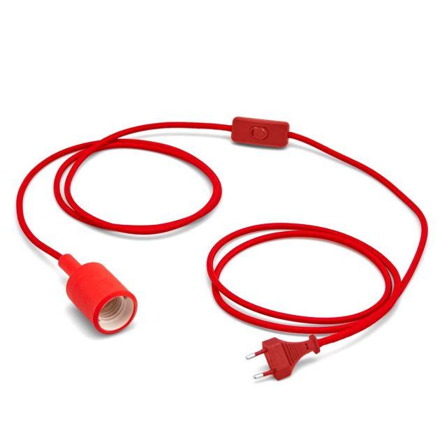 Portalampada in silicone con cavo tessile cotone rosso ed interruttore design vintage