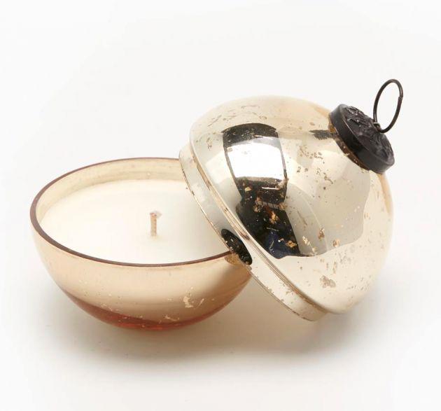 Shiny : Candela in sfera di vetro colore oro D8
