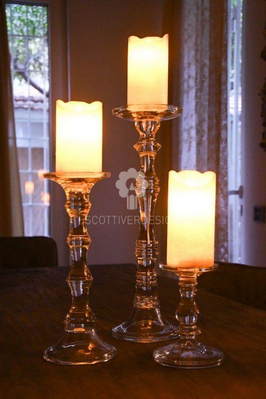 Candeliere Eos: candelabri in vetro trasparente EDG
