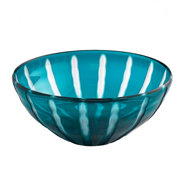 Ciotola vetro blu a righe D32: centrotavola, portafrutta o svuotatasche EDG