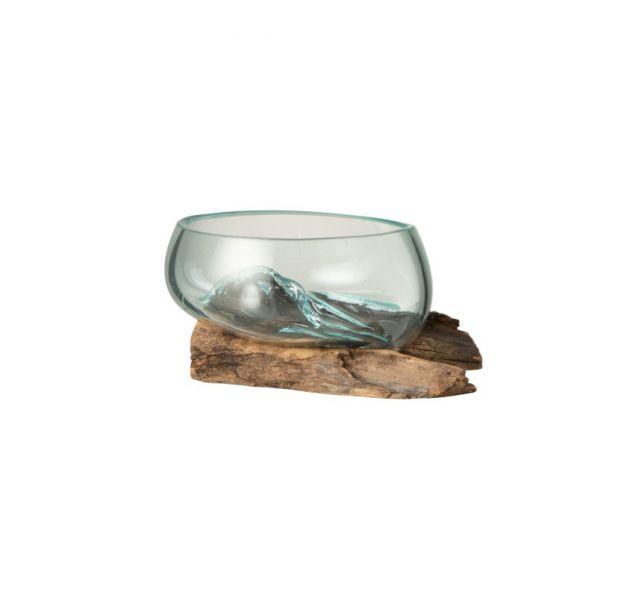 Ciotola in vetro riciclato su legno naturale