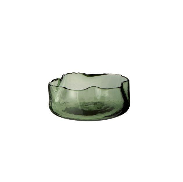 Vaso ciotola rotondo con bordo irregolare di colore verde