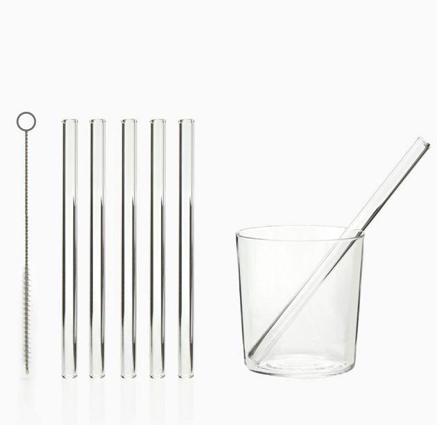 Set 6 cannucce in vetro trasparente riutilizzabili H15 + spazzolina