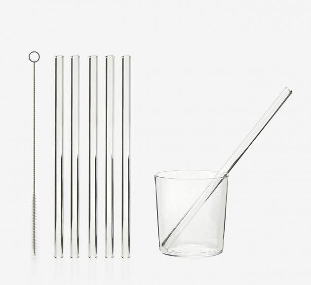 Set 6 cannucce in vetro trasparente riutilizzabili H23 + spazzolina