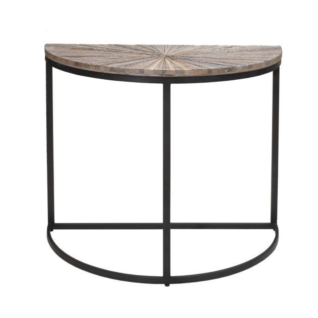 Vic Natural | Consolle mezzaluna in legno di recupero e ferro