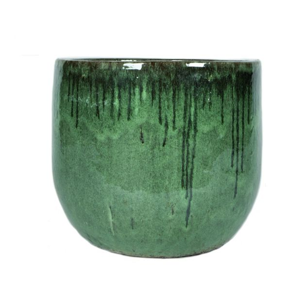 Vaso Davon Dark Green | Vaso in terracotta smaltata realizzato a mano di colore verde con colature