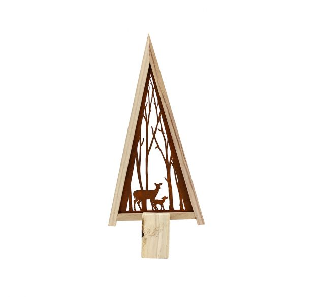 Decoro albero di Natale da tavolo con bosco stilizzato in ferro