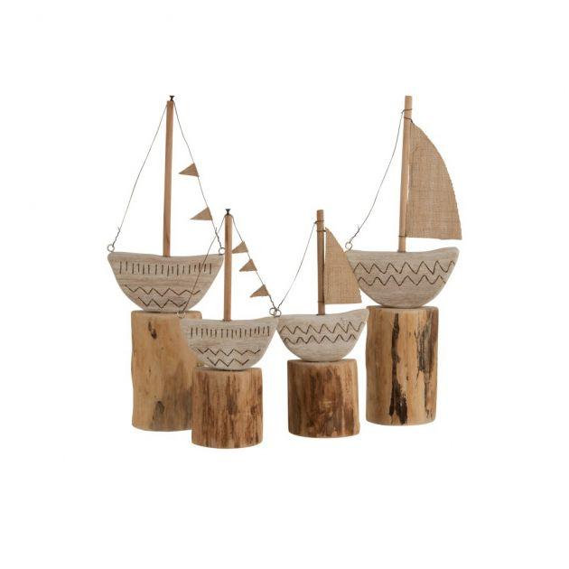 Set decoro barca su piede in legno naturale