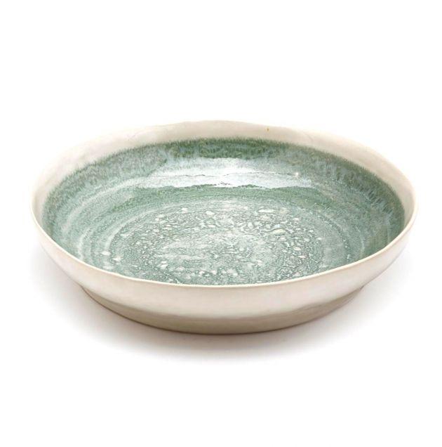 FENG Glaze - Piatto fondo in ceramica gres smaltata verde oliva D22 H5