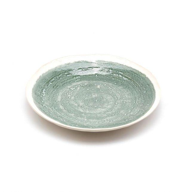 FENG Glaze - Piatto piano in ceramica gres smaltata verde oliva D22