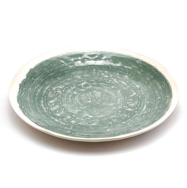 FENG Glaze - Piatto piano in ceramica gres smaltata verde oliva D28