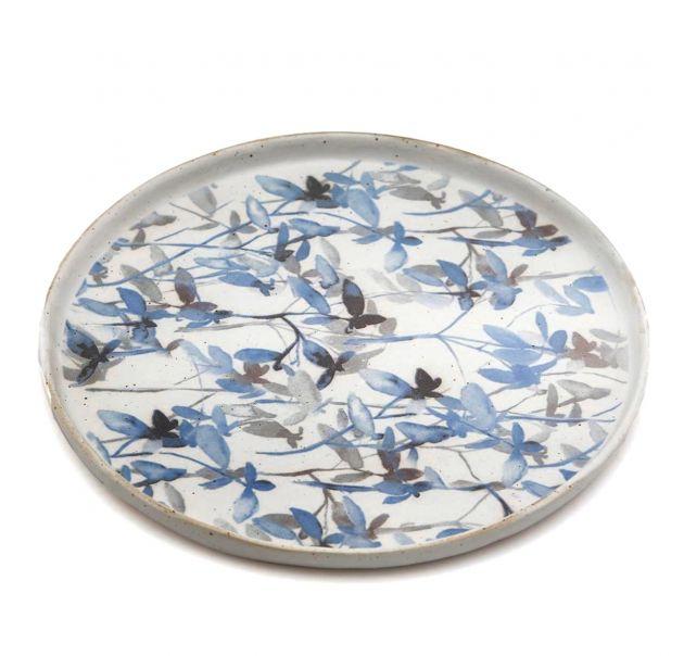 FENG - Piatto da portata in ceramica gres motivo fogliame azzurro D22
