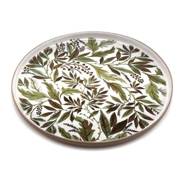 FENG - Piatto da portata in ceramica gres motivo fogliame verde D22