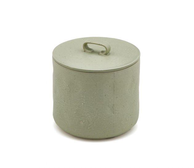FENG - Barattolo in ceramica gres con coperchio ermetico verde chiaro H12