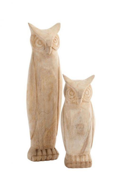 Gufi di legno portafortuna: sculture in legno J Line